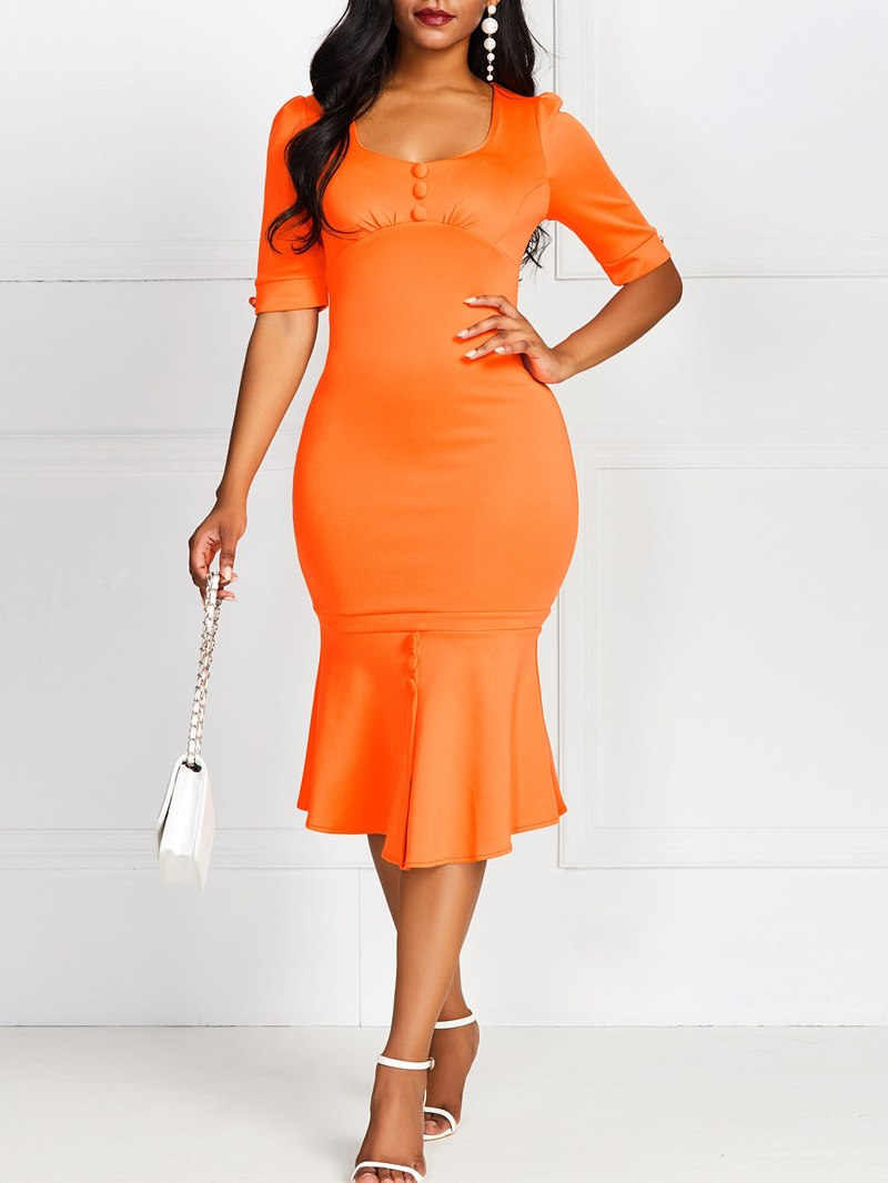Ericdress Half Sleeve V-Neck Mid-Calf Pullover High Waist Dress