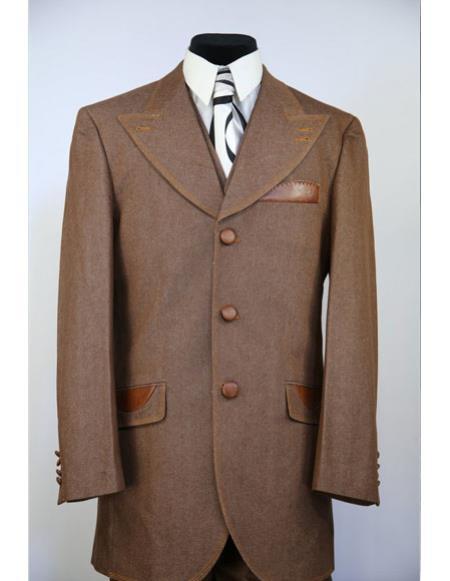Mens brass Buttons Wide Peak Lapel denim 3pc zoot suit