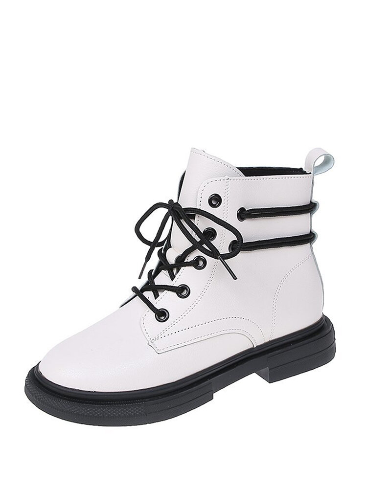 Women's British Style Retro Round Toe Lace-up Platform Ankle Boots