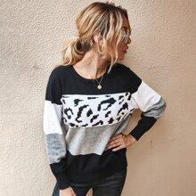 Pullover mit Grafik Muster und Farbblock