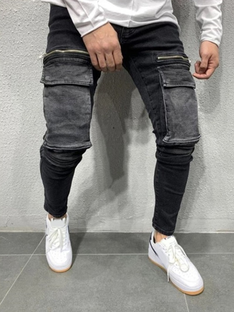 Ericdress Men's Pencil Pants Worn Mid Waist European Jeans