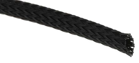 SES Sterling Expandable Braided PET Black Cable Sleeve, 4mm Diameter, 100m Length