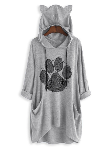 Milanoo Hoodie For Woman Blue 3/4 Length Sleeves Printed Cat Ear Hooded Sweatshirt