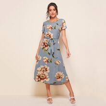 Floral Print Self Tie Dress