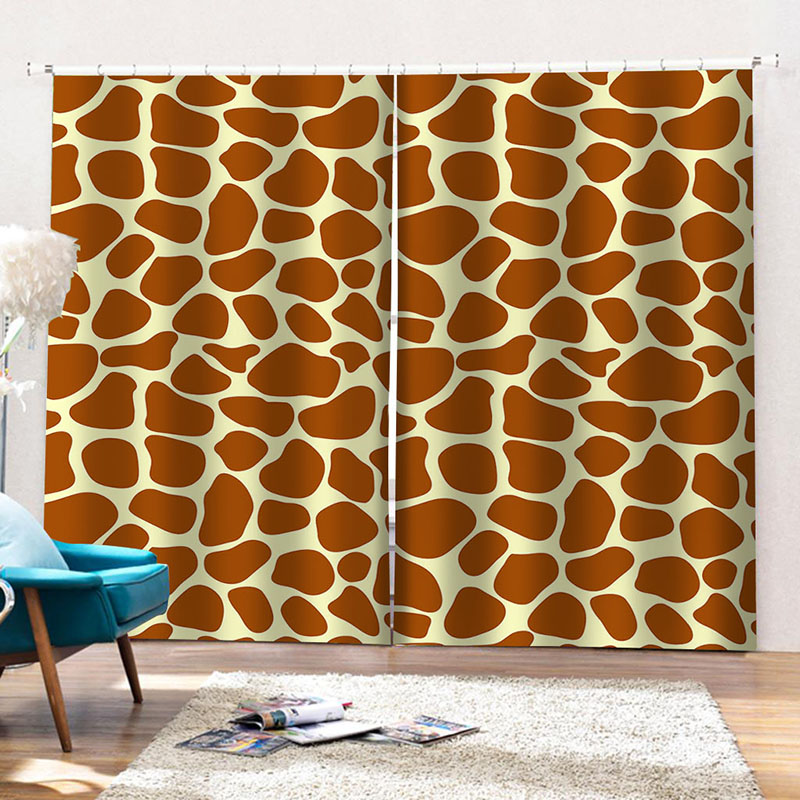 3D Giraffe Pattern Blackout Curtains 84W 84L Inches Thick Shading Polyester No Pilling No Fading No off-lining Polyester Blend Super Heavy and Soft Ha