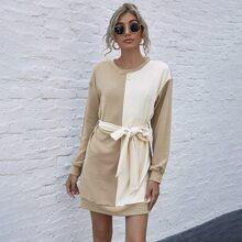 Vestido sudadera con cordon de color combinado