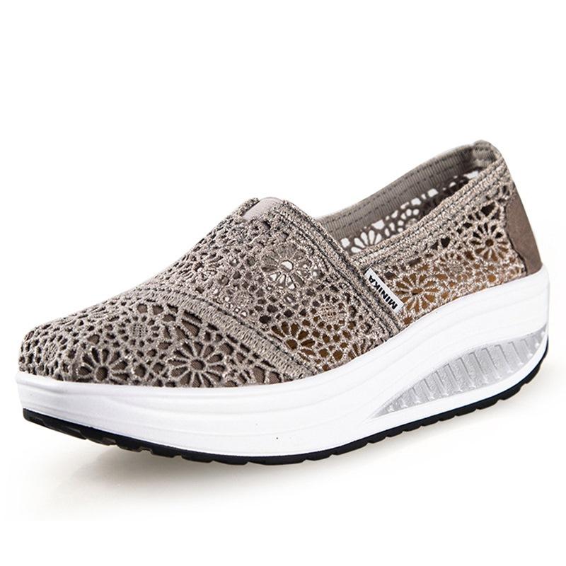 Ericdress Slip-On Round Toe Hollow Platform Sneakers