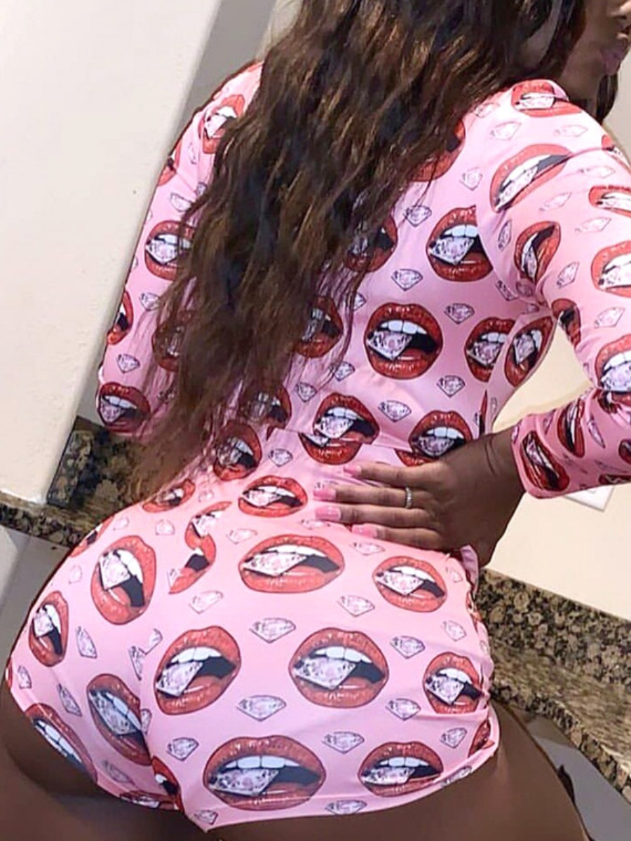 LW lovely Sexy V Neck Lip Print Pink Plus Size One-piece Romper