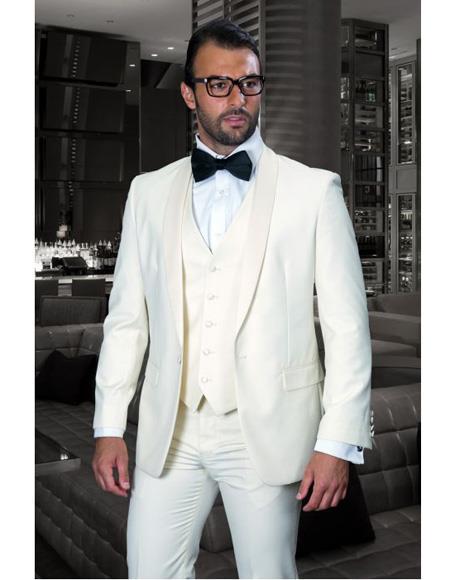 Men's Shawl Lapel One Button Cream Single Breasted Tuxedo