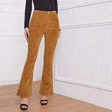 High Waist Cord Flare Leg Pants