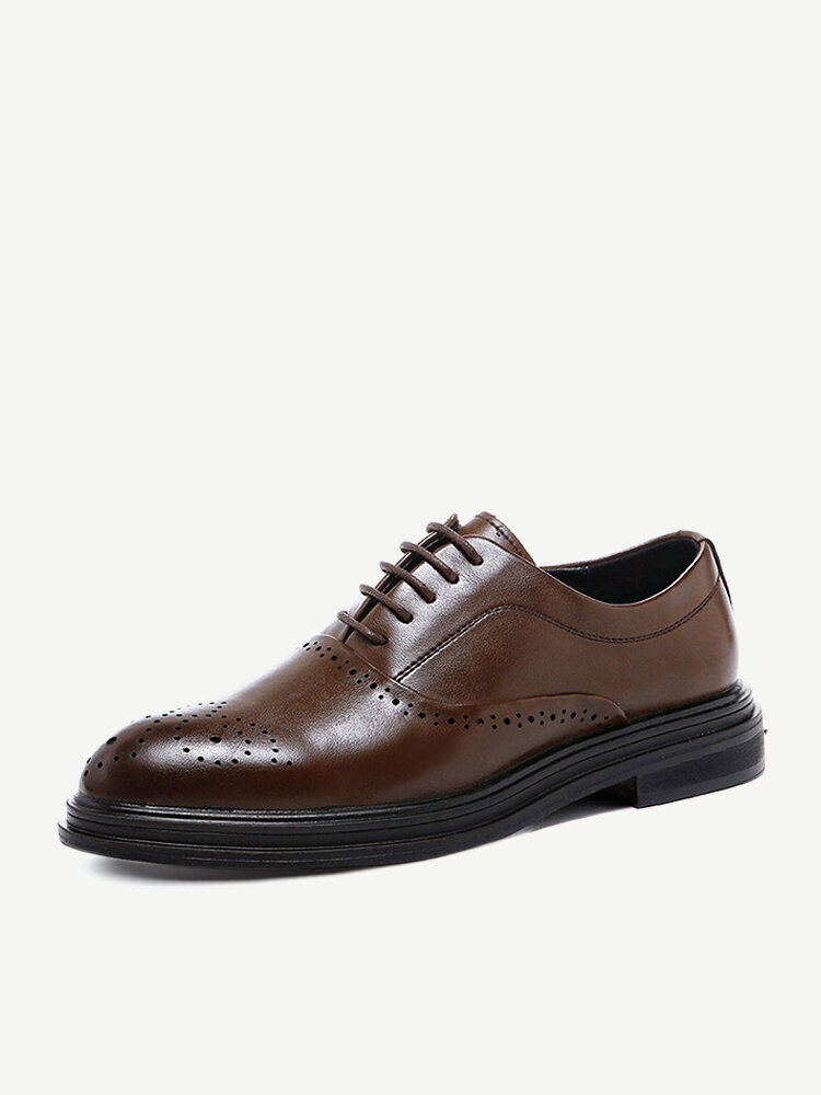 Men Classic Brogue British Style Lace Up Business Formal Shoes