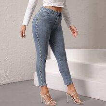 Schmale Jeans mit hoher Taille und Perlen Detail