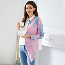 Bluse mit Batik und asymmetrischem Saum