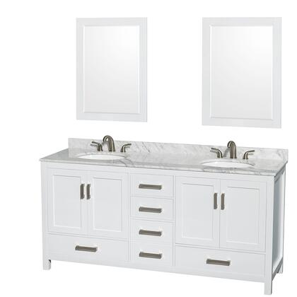 WCS141472DWHCMUNOM24 72 in. Double Bathroom Vanity in White  White Carrera Marble Countertop  Undermount Oval Sinks  and 24 in.