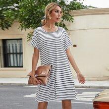 Stripe Print Roll Up Sleeve Tee Dress