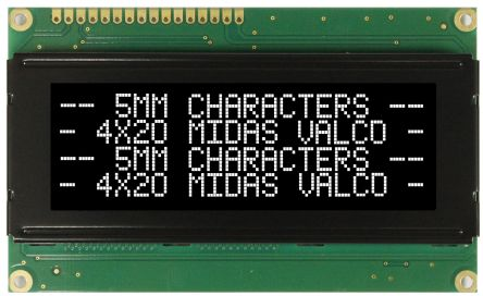 Midas MC42005A12W-VNMLW MC42005 Alphanumeric LCD Display Black, 4 Rows by 20 Characters, Transmissive