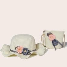 2 Stuecke Geflochtener Eimerhut mit Blumen Applikation und Hut