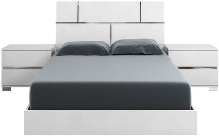 Pisa Collection TC9002QW2SSET 3 PC Bedroom Set with High Gloss White Lacquer Queen Size Bed and 2