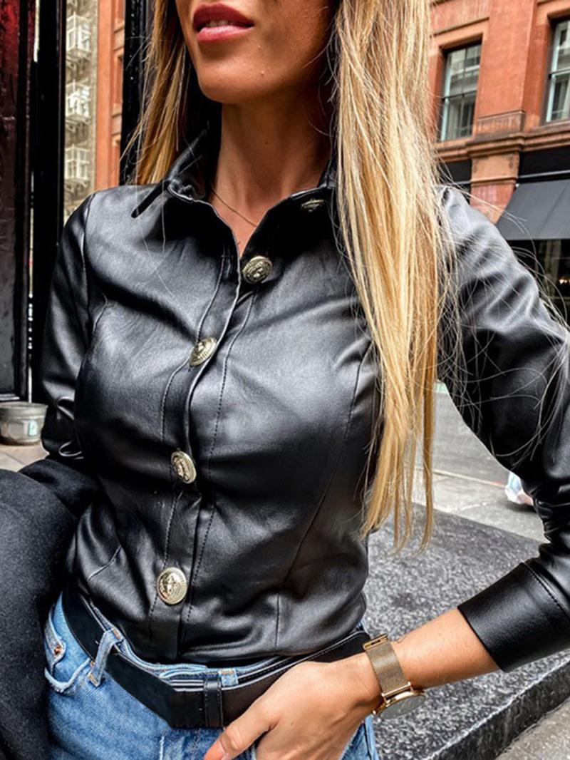 Ericdress Single-Breasted Slim Standard PU Women's Jacket