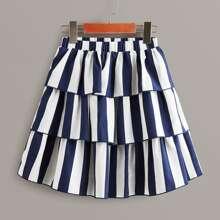 Falda de niñas fruncido a capas de rayas