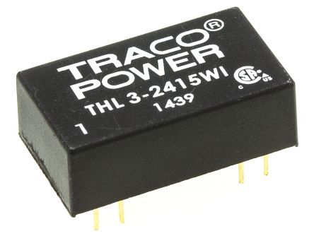 TRACOPOWER THL 3WI 3W Isolated DC-DC Converter Through Hole, Voltage in 9 → 36 V dc, Voltage out 24V dc