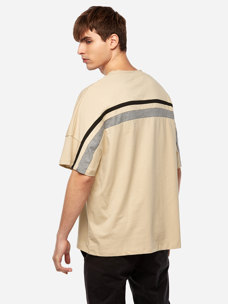 Yoins Khaki Back Stripes Crew Neck Short Sleeve Men's T-Shirt