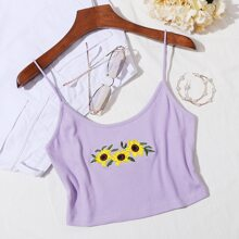 Sunflower Embroidered Crop Cami Top