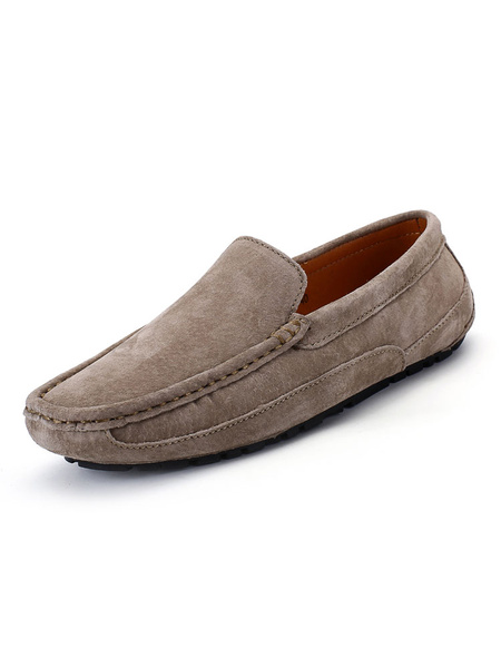 Milanoo Mens Moccasin Loafers Slip-On Round Toe Driving Shoes