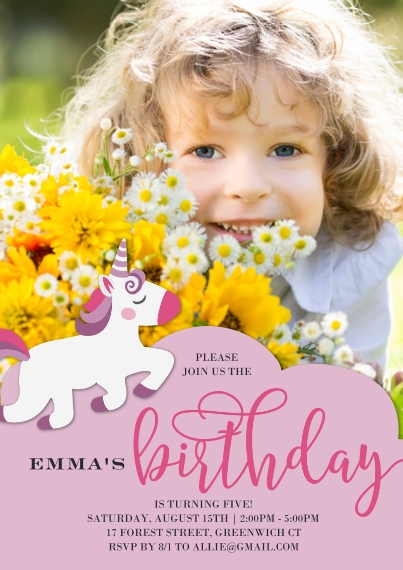 Kids Birthday Party 5x7 Cards, Premium Cardstock 120lb with Elegant Corners, Card & Stationery -Birthday Invite Unicorn Script
