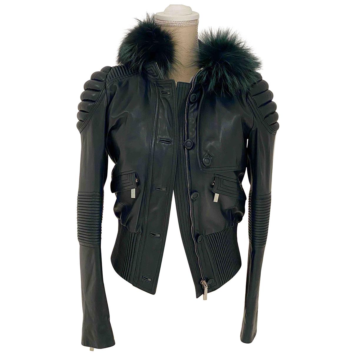 Versace - Veste   pour femme en cuir - vert