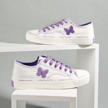 Zapatillas deportivas de lona con cordon con mariposa