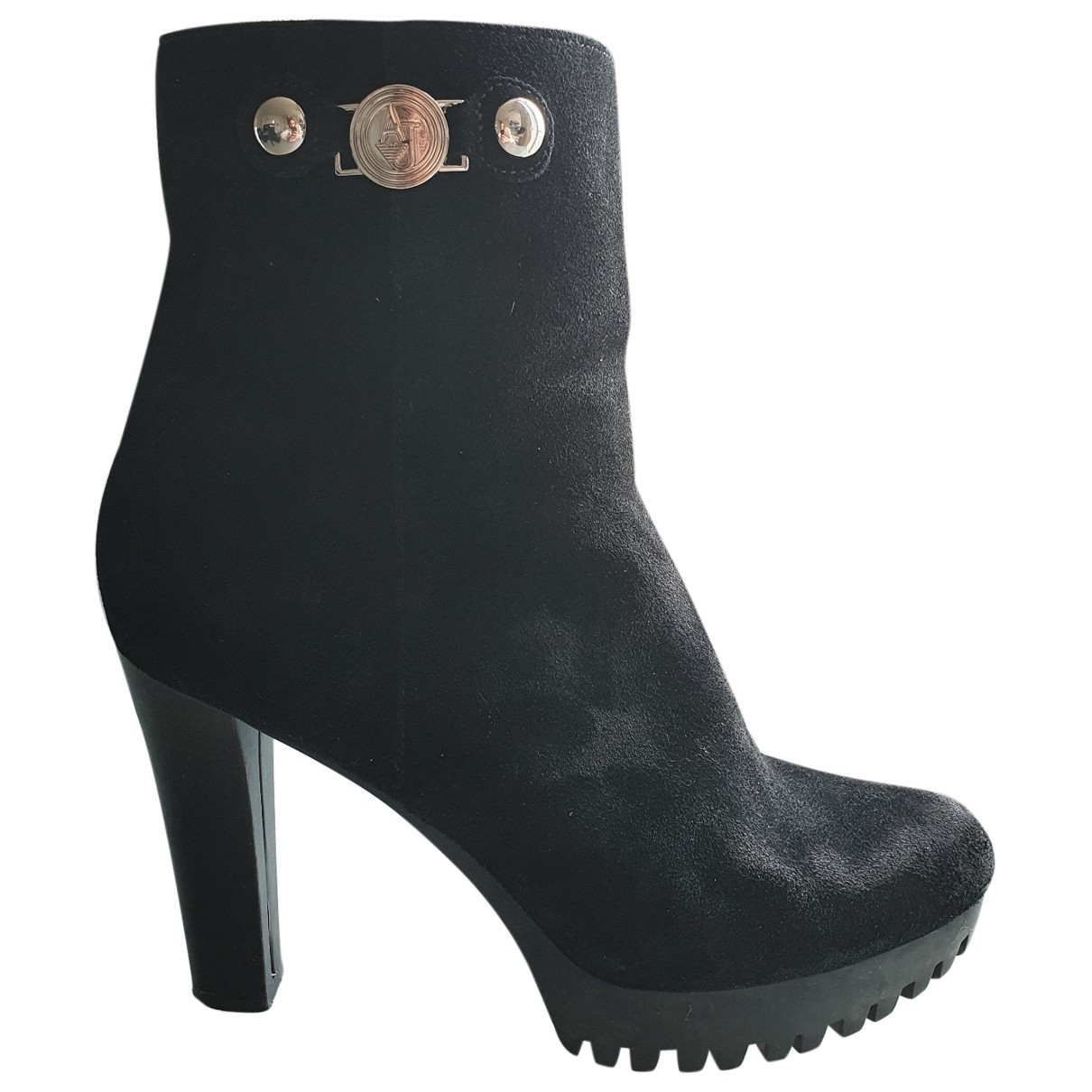 Armani Jeans \N Black Leather Ankle boots for Women 37 EU