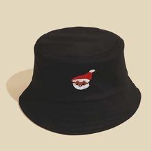 Maenner Fischerhut mit Weihnachtsmann Stickereien