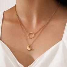 2pcs Moon & Ring Pendant Necklace