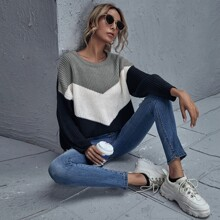 Drop Shoulder Chevron Sweater