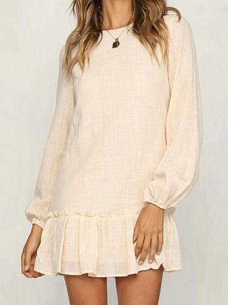 Milanoo Apricot Shift Dresses Modern Jewel Neck Long Sleeve Polyester Cotton Woman\'s Tunic Dress