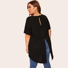 Camiseta tejida de canale bajo irregular de espalda con lazo-grande