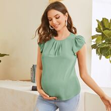 Maternity Gathered Front Petal Sleeve Top