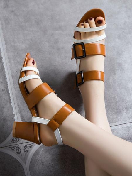 Milanoo Mid Heel Sandals Womens Open Toe Double Buckles Slingback Chunky Heel Sandals