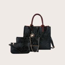 3pcs Maple Leaf Decor Tote Bag Set