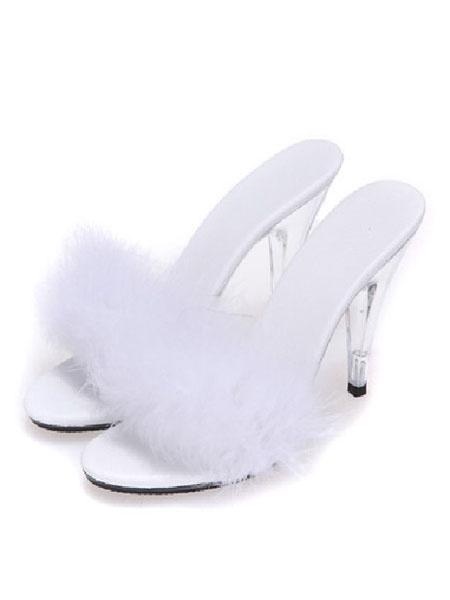 Milanoo Pink Sexy Shoes Women's Open Toe High Heel Stiletto Fur Summer Mules
