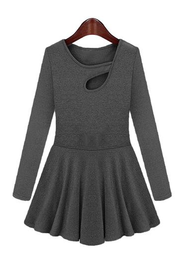 Yoins Plus Size Black Keyhole Neckline Dress