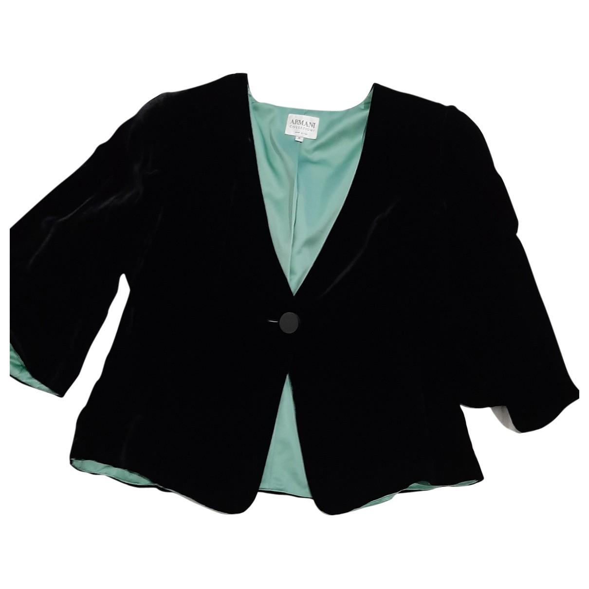 Armani Collezioni - Veste   pour femme en velours - noir