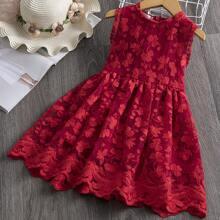 Toddler Girls Floral Applique Zip Back Sleeveless Dress
