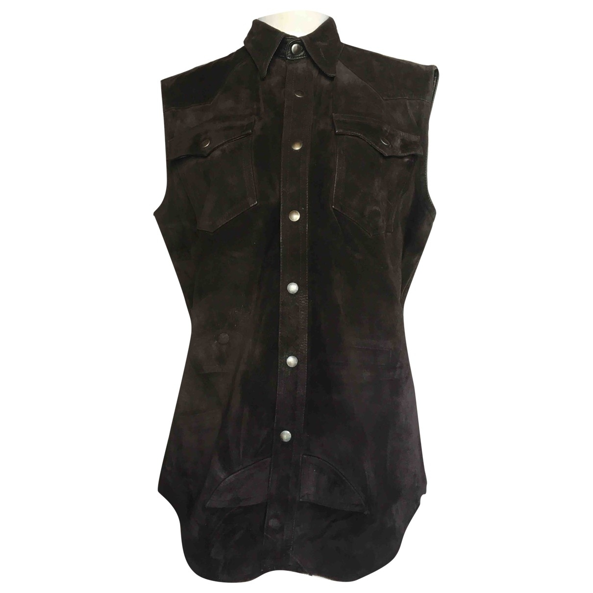 Non Signé / Unsigned \N Black Suede  top for Women 44 IT