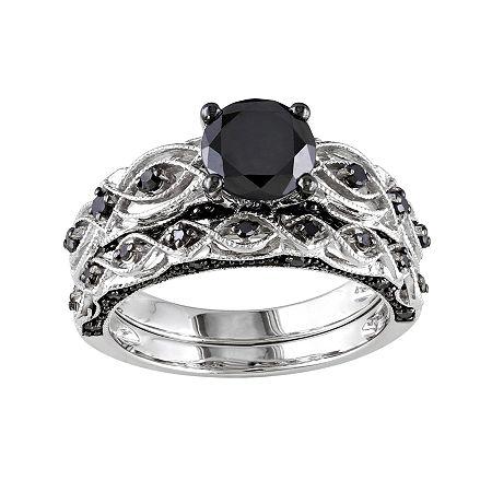 Midnight Black Diamond 1 3/8 CT. T.W. Color-Enhanced Black Diamond 10K White Gold Bridal Set, 5 , White