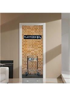 30×79in Bricks Pattern Platform PVC Environmental and Waterproof 3D Door Mural