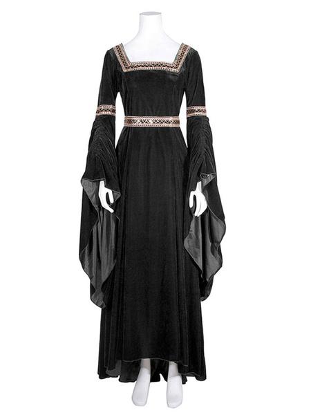 Milanoo Victorian Dress Costume Womens Royal Blue Medieval Renaissance Long Trumpet sleeve Square Neckline Victorian era Clothing Costumes Halloween