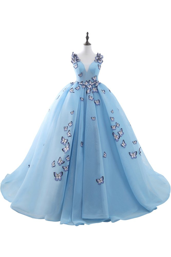 BREANNA   Prinzessin V-Ausschnitt Kapelle Zug Chiffon Sky Blue Prom Kleider mit Schmetterling Applique