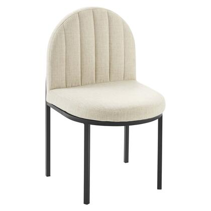 Isla Collection EEI-3803-BLK-BEI Channel Tufted Upholstered Fabric Dining Side Chair in Black Beige